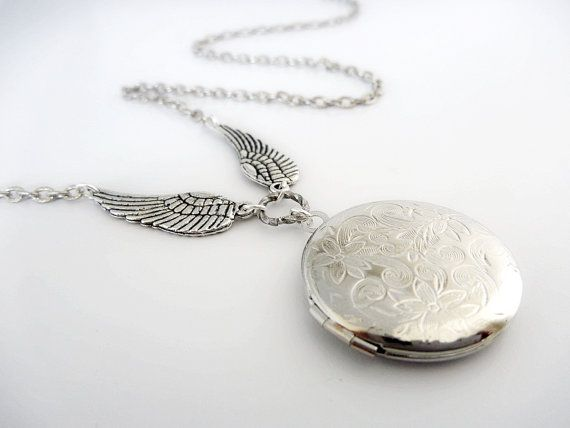 Silver Locket with stunning antiqued silver wings by FunkyGlam | Smoked Glass Goggles