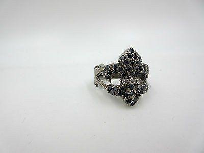 Large Fleur de lis 14k White Gold 1.50cts Black Diamond Ornate Mens Ring size 9
