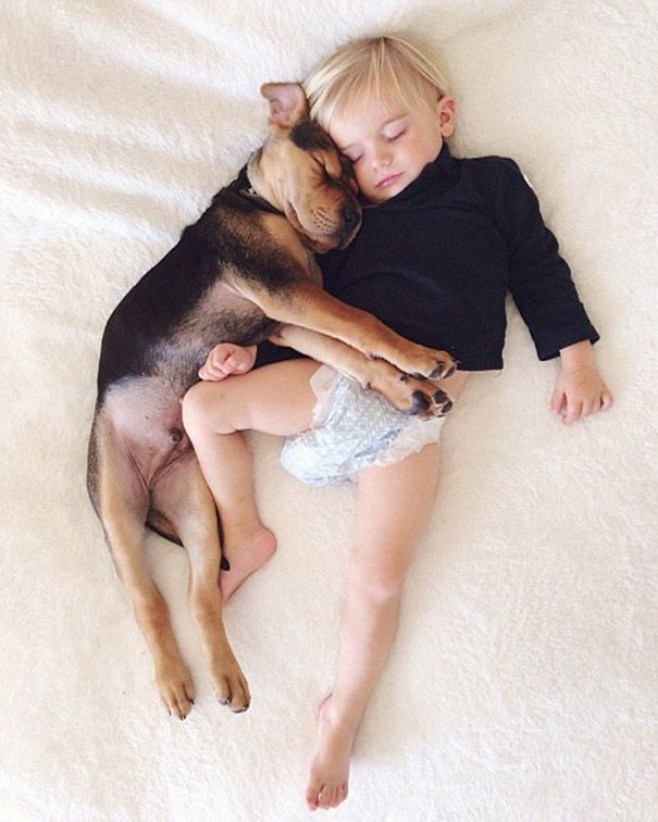 A toddler and a puppy <3