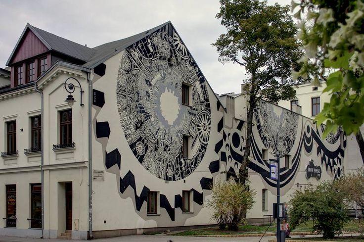 Poland, Lodz, Sienkiewicza, Mural