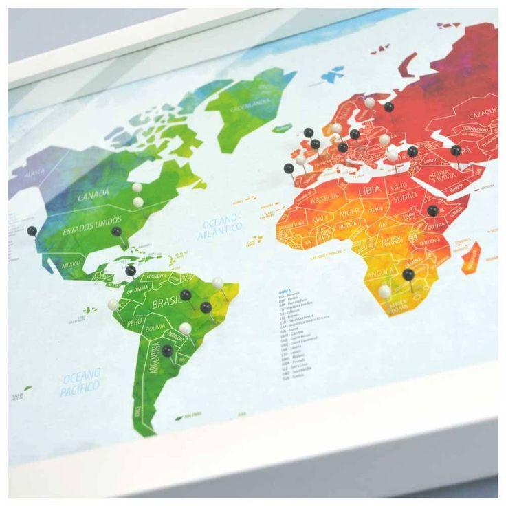 Mapa para marcar viagens. Quadro Box M - Mapa-Múndi Aquarela + 100 Pins Alfinetes VI8993