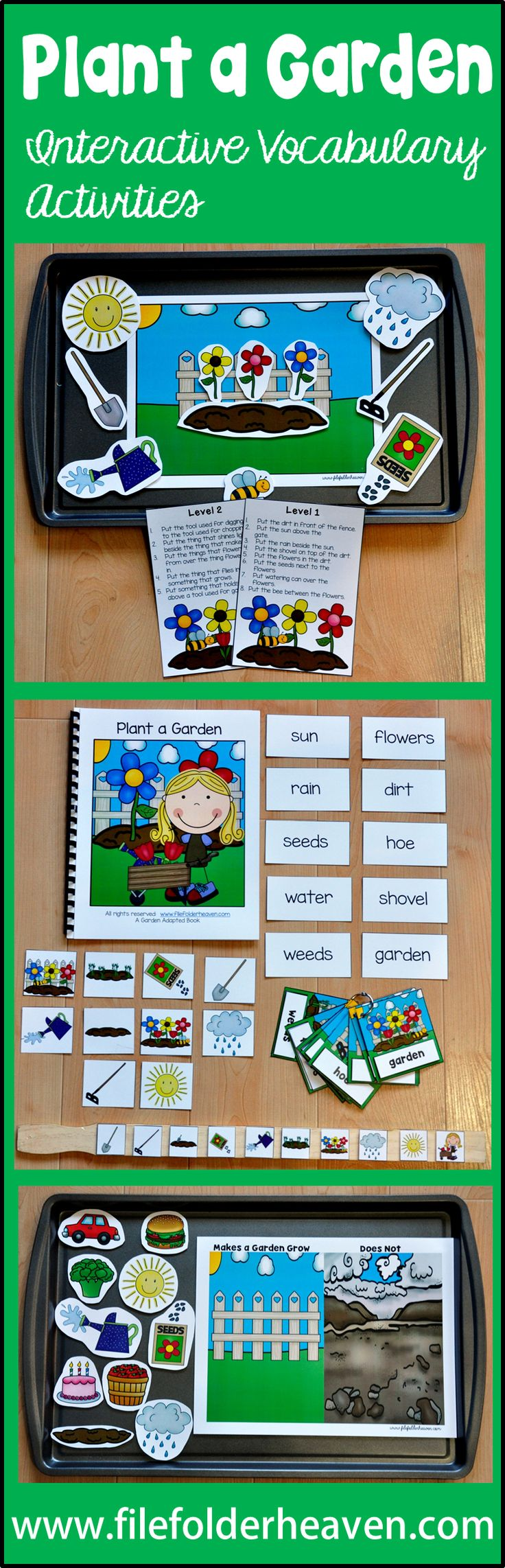 """Plant a garden. Watch it grow. Grab the shovel! Grab the hoe!""  The ""Plant a Garden"" Adapted Books Unit is a spring themed unit that focuses on garden vocabulary. This unit includes 2 adapted books, 3 file folder games, 2 cookie sheet activities, 1 clothespin task and 1 set of vocabulary handwriting sheets.  This unit has just been UPDATED!!!  (1/2016)  In addition to all of the above activities, this unit now includes an updated adapted book and 4 new vocabulary extension activities."