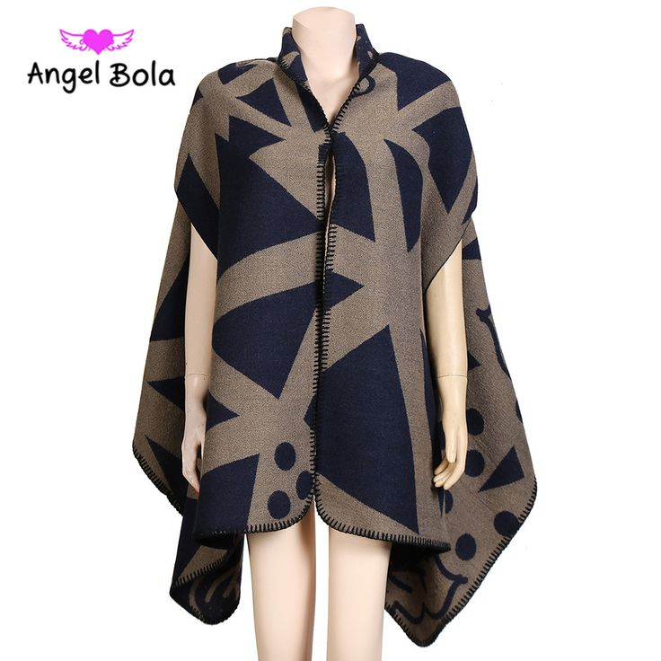 ==> [Free Shipping] Buy Best Angle Bola Women Scarf Winter Ponchos and Capes Plus Size Black White Shawls Wrap Geometric Print Pashmina Femme Blanket Fashion Online with LOWEST Price | 32794824432