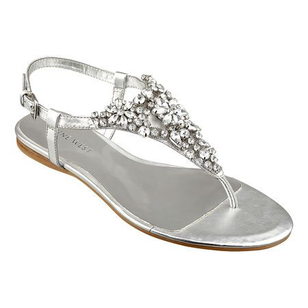 "Silver jeweled t strap sandal - Nine West    (Jeweled thong 1/4"" sandal.  Adjustable buckle closure.)"