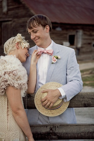 Lovely 1920s style wedding via Glamour -- check out the outfits! I only love the mens outfits