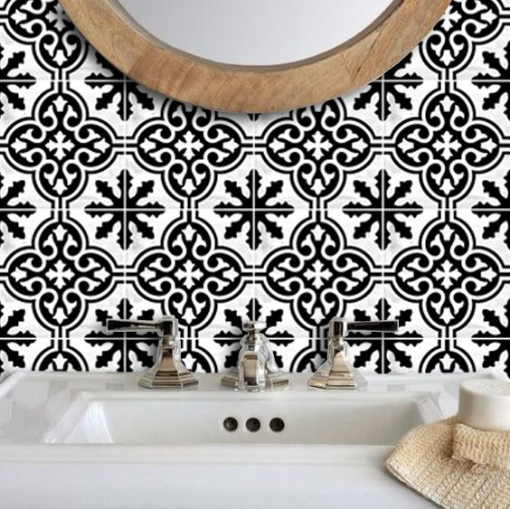 Vinyl Tile Sticker Splashback Floc Removable Vinyl Wallpaper in Black and Cream