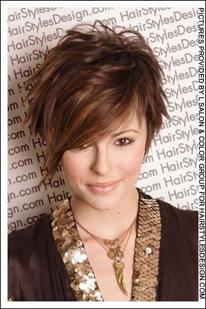 Edgy pixie cut, longer in front. Cute...seriously thinking about getting a pixie??