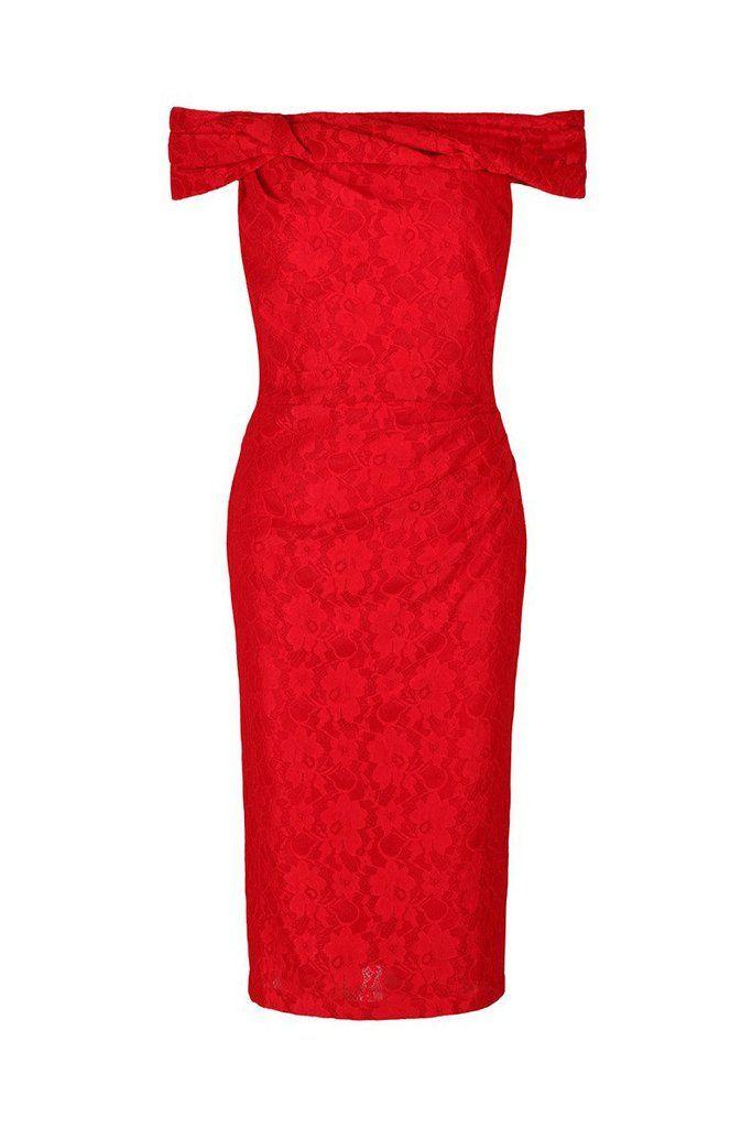 Red Lace Bardot Wiggle Pencil Dress