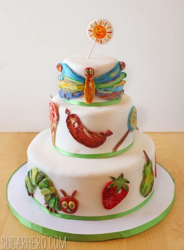 Very Hungry Caterpillar Cake - three tier chocolate-strawberry cake for a Very Hungry Caterpillar party