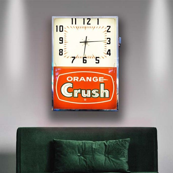 Orange Crush Wall Clock   The Games Room Company A rare and stunning vintage wall clock with programmable background colours