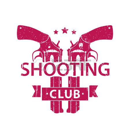 Shooting Club, emblem, logo, sign with crossed revolvers, handguns, red on white, vector illustration photo