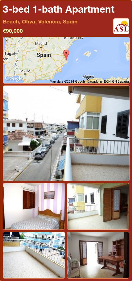 Apartment for Sale in Beach, Oliva, Valencia, Spain with 3 ...