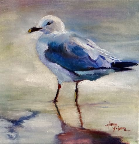 Norma Wilson Original Oil Seascape Seagull Bird Ocean Coastal Beach Painting Art, painting by artist Norma Wilson