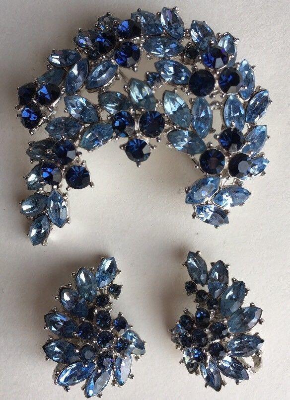 Blue Rhinestone Pin Set