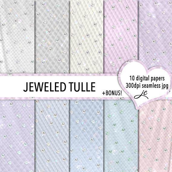 Jeweled Tulle Digital Papers  BONUS Photoshop Pattern Files