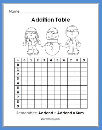 Free Winter Addition Table