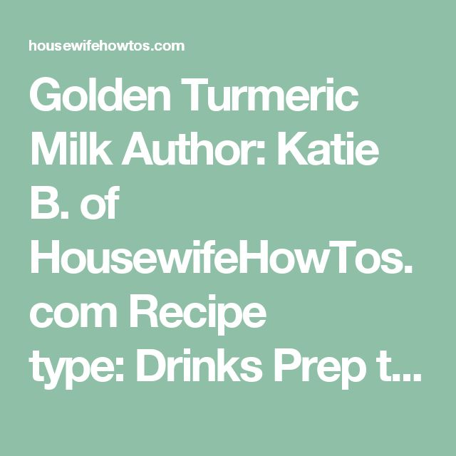 Golden Turmeric Milk Author:Katie B. of HousewifeHowTos.com Recipe type:Drinks Prep time: 2 mins Cook time: 5 mins Total time: 7 mins  Turmeric milk is an ancient treatment for coughs, headaches, joint pain and skin problems thanks to the spice's anti-inflammatory and anti-oxidant properties. Combined with cinnamon, ginger and other spices, it becomes a soothing and delicious drink that's good for you, too! Ingredients 1 teaspoon ground turmeric 1 teaspoon ground cinnamon ¼ teaspoon…