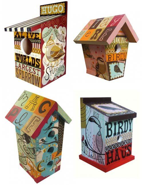 Inspiration for my boring decorative wood birdhouses.