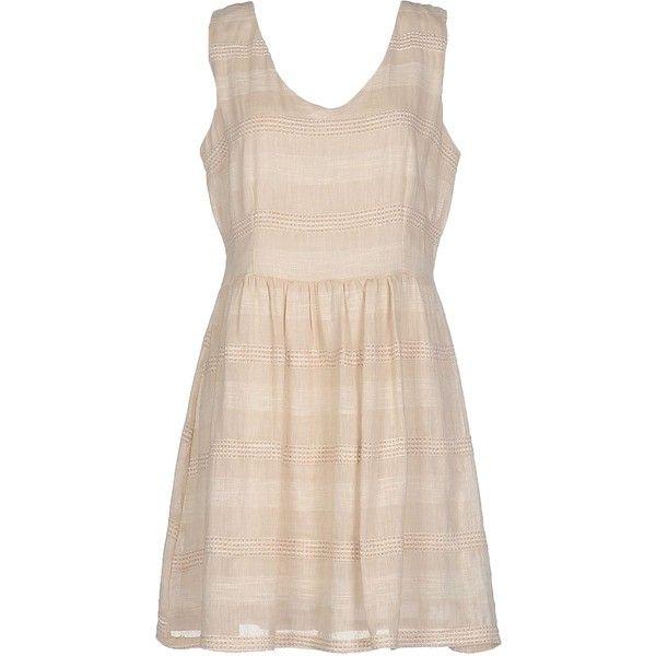 Campo Di Fragole Short Dress (265 BRL) ❤ liked on Polyvore featuring dresses, beige, v-neck dresses, sleeveless v neck dress, mini dress, pink dress and pink mini dress