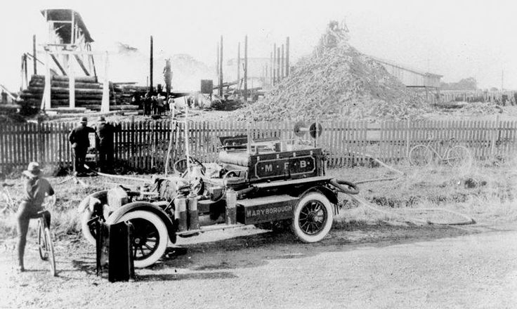Maryborough's fire engine attending a fire at Sim's Sawmill, 1930