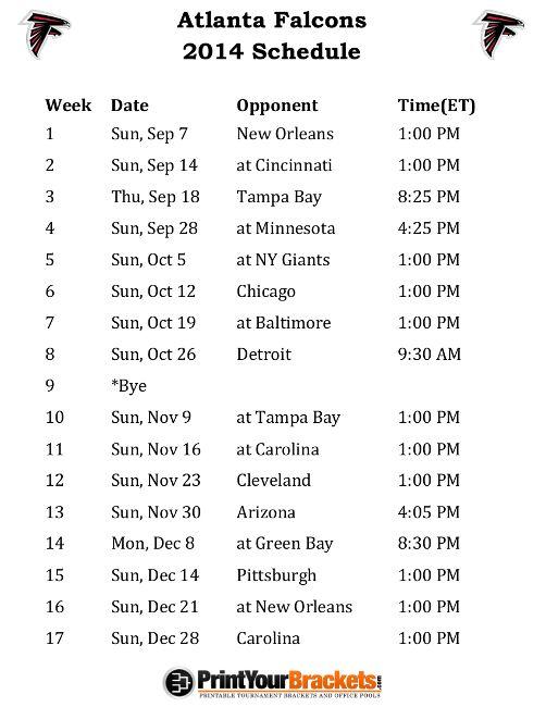 Printable Atlanta Falcons Schedule - 2014 Football Season