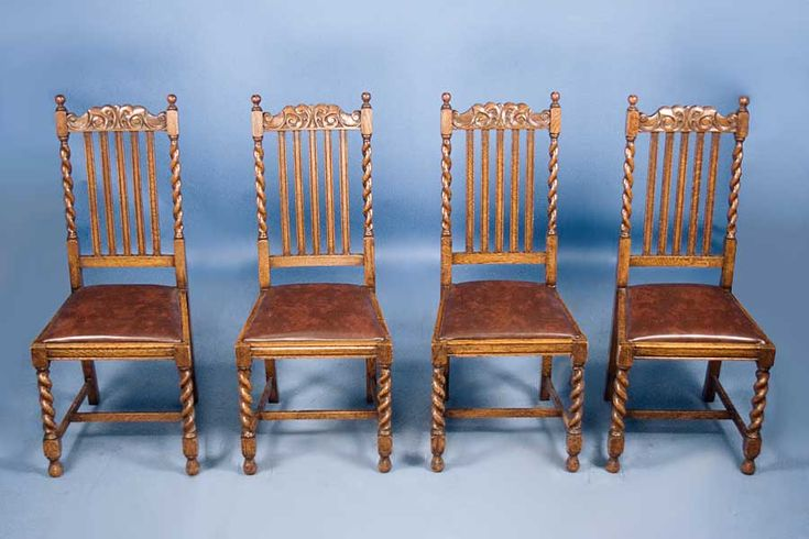 Antique Chairs | Set of 4 Antique Oak Barley Twist Dining Chairs For Sale | Antiques ...