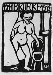 "Erich Heckel (German, 1883-1970). Title Page Woodcut for the Annual Report 1911-1912 of the Artists' Group ""Brücke"" (Titelholzschnitt zum Jahresbericht 1911-1912 der Künstlergruppe ""Brücke""), 1911-1912. Woodcut in black ink on wove paper, Image: 3 7/8 x 2 7/8 in. (9.8 x 7.3 cm). Brooklyn Museum, Gift of Dr. F.H. Hirschland, 55.165.6. © artist or artist's estate"