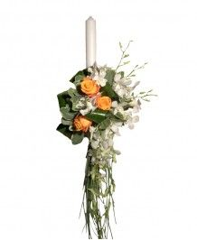 Aranjamente nunta si botez Lumanari de nunta cu trandafiri portocalii