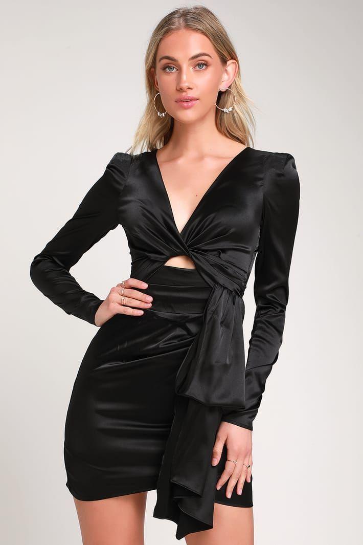 3d0683e6e8 Pulse of the Night Black Satin Cutout Mini Dress