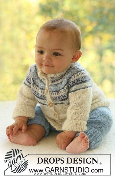 """Baby Knitting Patterns DROPS jacket with raglan sleeve in pattern and pants in """"Alp..."""