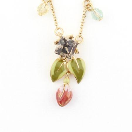 Fuchsia Leaf Crystal Drop Pendant