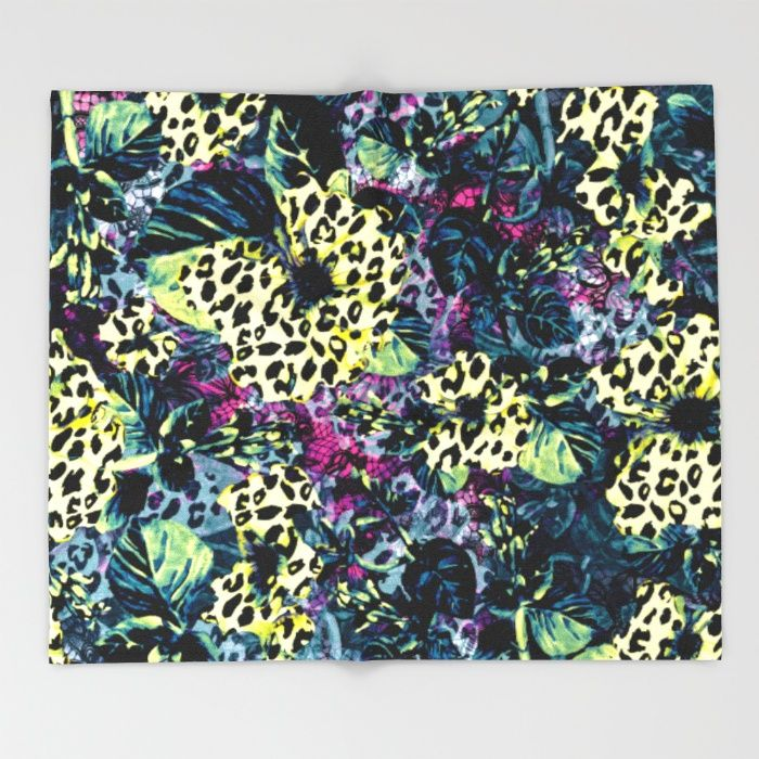 Golden Flowers II Throw Blanket #floral #leaves #pattern #art #bathroom #homedecor #yellow #blue #green