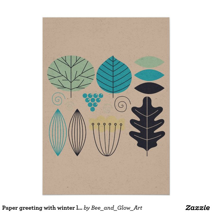 Paper greeting with winter leaves