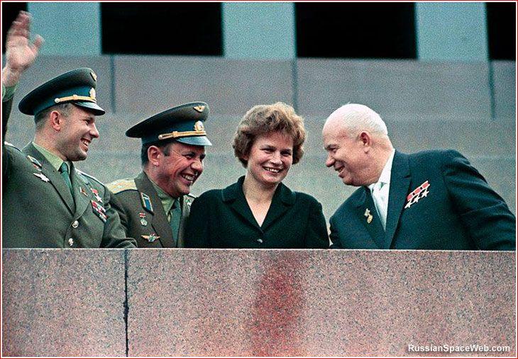 Those were the Days of Fun and Optimism (1963) - Nikita Khrushchev, Yuri Gagarin, Valentina Tereshkova and Pavel Popovich.