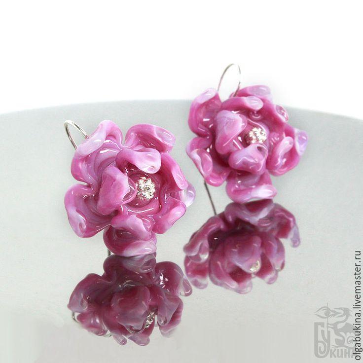 Купить Серьги с цветами Розовые лепестки. Авторское стекло Серебро Брасничный - серебро 925 пробы