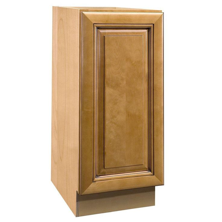 15x34.5x24 in. Lewiston Assembled Base Cabinet with Single Pullout Wastebasket in Toffee Glaze