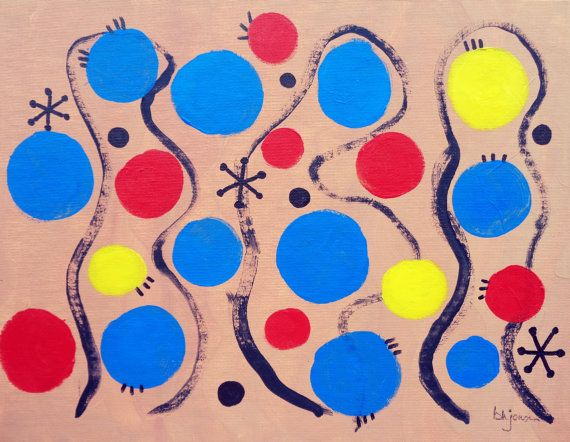 Original signed painting Blue Dots 11 x 14 by allthingsbarbara