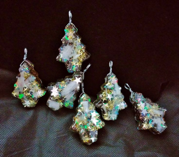 "Magical Orgonite ""Tree"" Ornaments with Selenite and Steel Filings ~ Silver and Gold! Set of 6 by KomacOrgonite on Etsy"