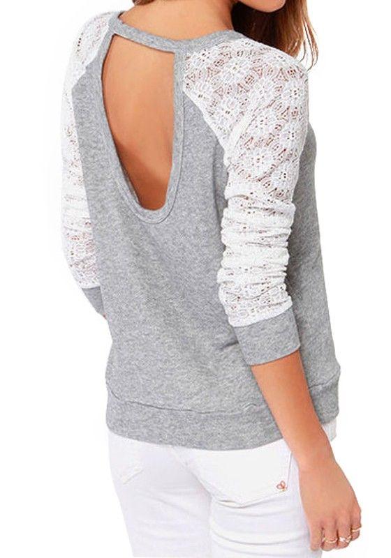 Light Grey Patchwork Lace Knit T-Shirt
