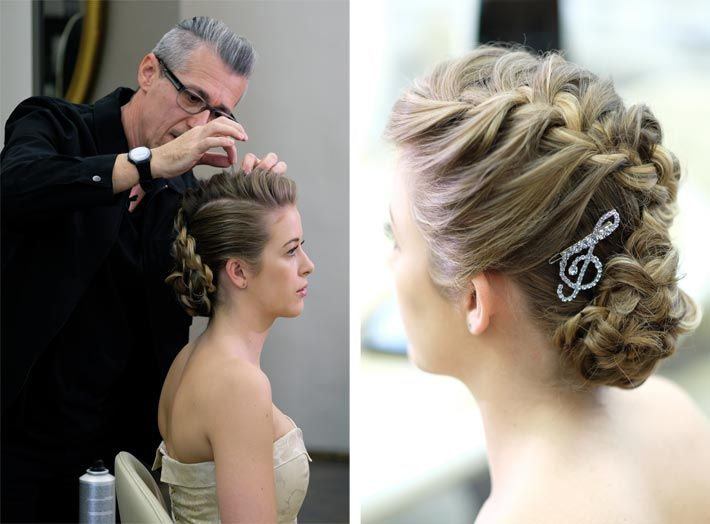 Artistic team of Bundy Bundy created a braided updo with crystallized clef for debutantes of the Vienna Philharmonic Ball opening dance conducted by Placido Domingo... fig.: Hair couture by the artistic team of Bundy Bundy under the creative direction of Gerhard Kopfer for the debutantes of the Ball der Wiener Philharmoniker (Vienna Philharmonic Ball) 2018. Photo: (C) Benjamin Morrison.