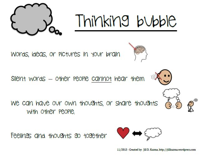 "LOVE this. Talk and think bubbles with descriptors. So many kids need this to help regulate what they say or to encourage them to talk rather than keeping it in their ""think"" bubble."