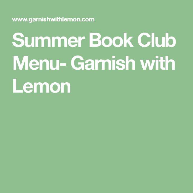 Summer Book Club Menu- Garnish with Lemon