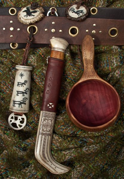 Saami-style tools including needle case, knife holster and watercup - I love the idea of the belt with holes so you can lace things on