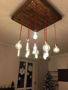 LAMPADA ARTIGIANALE LAMPADARIO A SOSPENSIONE SU MISURA IN LEGNO SHABBY VINTAGE | eBay