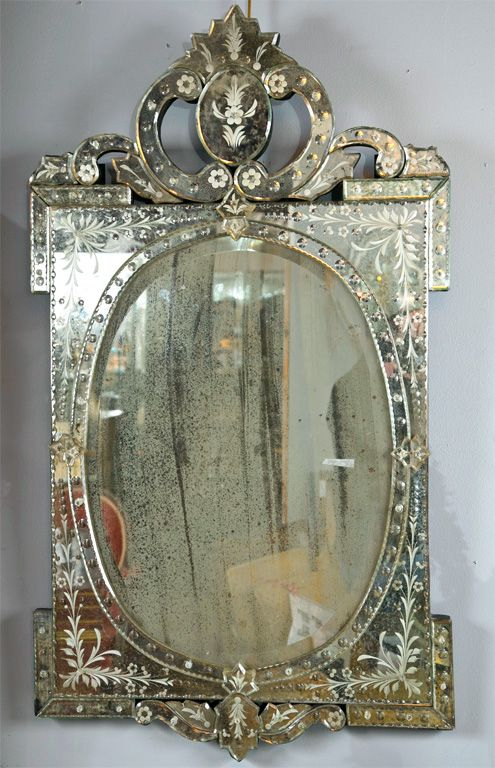Pair Of Venetian Style Etched Glass Mirrors