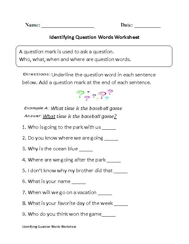 identifying question words worksheet grammer writing classes creative writing classes. Black Bedroom Furniture Sets. Home Design Ideas