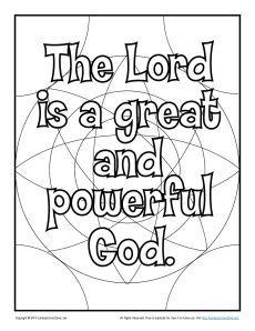 the lord is a great and powerful god coloring page - Childrens Biblical Coloring Pages