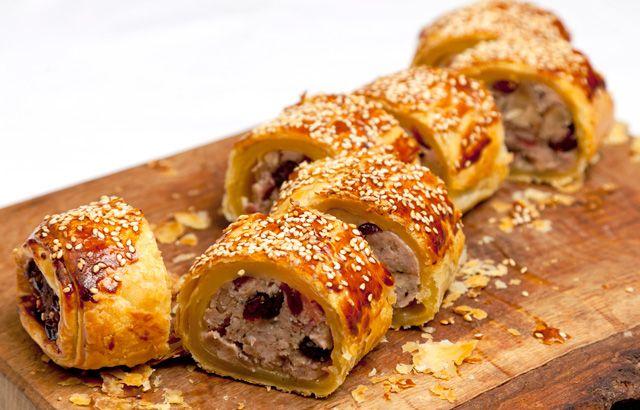 Partridge, cranberry and juniper sausage rolls