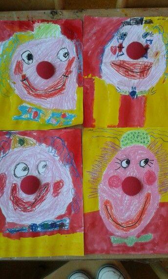 """clown van panda en ecoline met een """"echte"""" feestneus door groep 1/2"""
