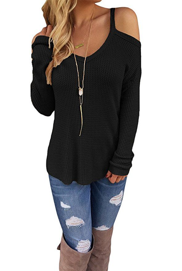 Dokotoo Womens Cold Shoulder Loose Knitted Sweater Top Blouse X-Large Black